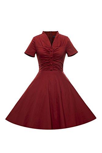 iLover 50s Retro vintage Rockabilly Kleid Hepburn Stil mit V Ausschnitt Partykleid Cocktail (1940 Tanz Kostüme)
