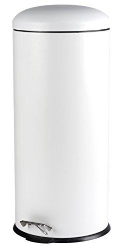 Mülleimer Treteimer Abfalleimer Metall 30 Liter 70 cm weiß matt