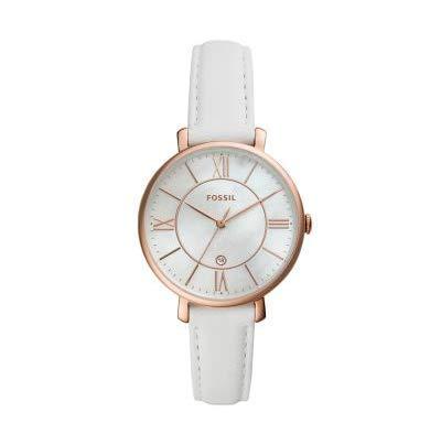 Fossil Jacqueline ES4579 - Reloj de Pulsera para Mujer (Piel Blanca, Tres manecillas)