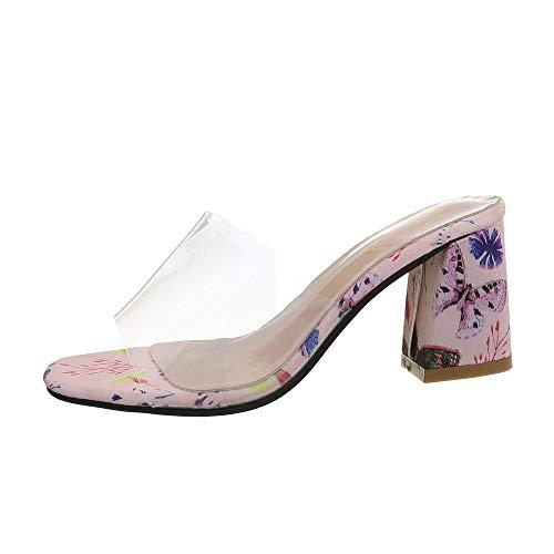 Rosa Multi Leder Schuhe (Ital-Design Damenschuhe Sandalen & Sandaletten Pantoletten Synthetik Rosa Multi Gr. 40)