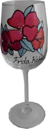 Frida kahlo bicchiere di vino di lusso con cristalli swarovski (flower)