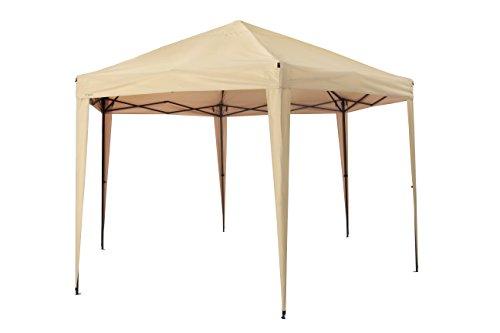 Tepro \'Aruba\' Hexagon Faltpavillon, inkl. Tasche   UV-Schutz 80+   Sonnenschirm für Garten , Terrase und Balkon   400 x 350 x 290 cm   Farbe: beige