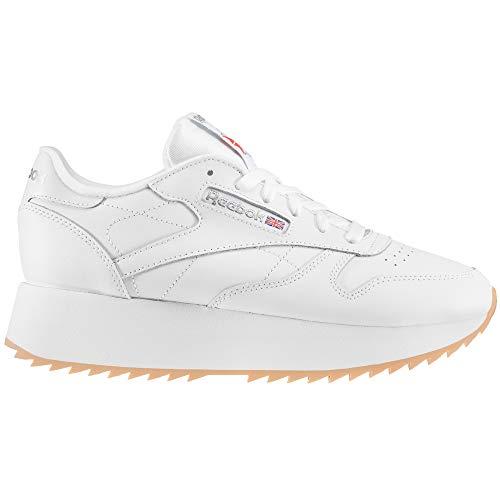 Reebok Plattform Damen, Classic Leather. Sneaker (39 EU, White/Silver Met/Gum)