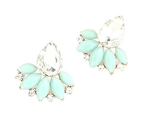 SaySure- Acrylic Flower Crystal Gem Cubic Zircon Stud Earrings