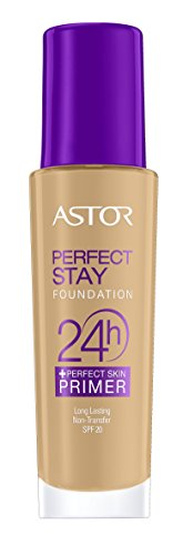 Astor Perfect Stay 24h Make Up plus Perfect Skin Primer, 302 Deep Beige, 1er Pack (1 x 30 ml) (Feuchtigkeit 24 H)