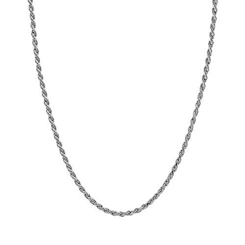 14K giallo o oro bianco massiccio 2 mm con taglio a diamante, catenina collana W/Real Strong moschettone F/uomini o donne sottile per pendente 16 - 61 cm e 14ct