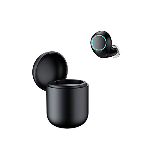 QAQ Bluetooth-Kopfhörer 3D Stereo Drahtlose Kopfhörer,Drahtlose Ohrhörer Hände Frei Passend Für iPhone Samsung Warten Smartphone(Bluetooth 4.2,Band Ladebox,Einzelohr),Black