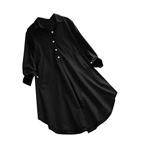 758a732ff DAYLIN Mujer Camiseta de Lino Casual Manga Larga Talla Grande Suelto  Botones Top Camisa con Bolsillo