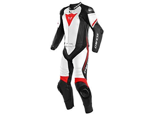 Dainese Lederkombi Laguna Seca 4 2Pcs, schwarz-matt/weiß/fluo-rot, Größe 56