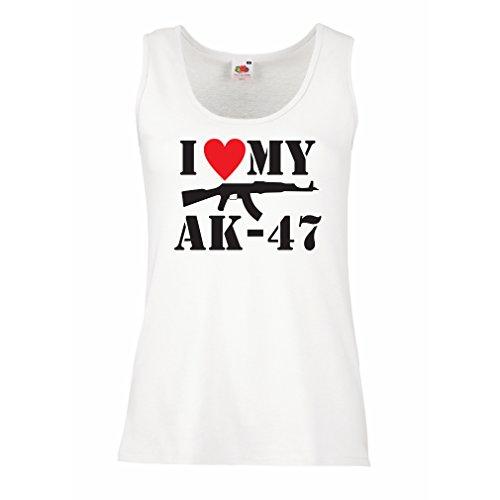 Damen Tank-Top Ich liebe meine Ak - 47, russisch machte Aka, Калашников Kalashnikov (XX-Large Weiß Schwarz)