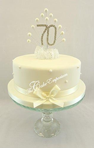 Karen's Cake Toppers Décoration perle Burst Vaporisateur Diamante 70e anniversaire perles Ivoire