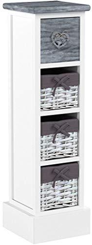 CARO-Möbel Kommode Flower Schubladenregal Standregal in weiß, imShabby Chic Vintage Look, mit dekorativer Schublade und 3 Körben