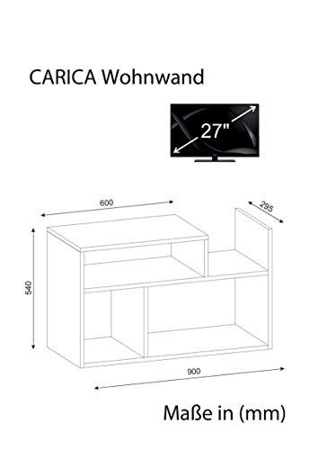Wohnwand Anbauwand TV Medienwand Wohnwandkombi Lowboard CARICA in Weiss 1926 - 3