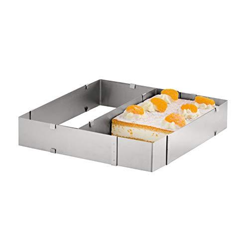 Backrahmen geeignet für Unterteilung von Kuchen - eckige Kuchenform - Breit und Länge stufenlos verstellbar - aus Edelstahl - spülmaschinengeeignet
