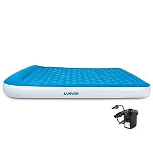 Lunvon Queen Size Luftbett Gästebett Doppelbett 2 Person – Aufblasbare Luftmatratze Air Bed mit Aufladbarer Luftpumpe…