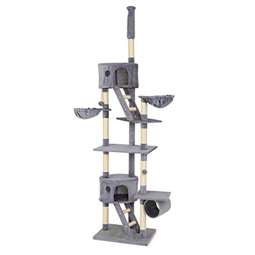 Dibea albero tira graffi giocattolo gatti, altezza regolabile, grigio chiaro - 240-260 cm
