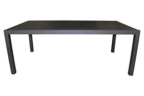 DCB GARDEN LONON-TB200 Table alu Plateau Verre Finition Granit, Gris Anthracite, 208x9x91 cm