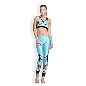 Dooret Frauen-Yoga-Weste-Baum-Sonnenuntergang 3D Digitaldruck-elastische Capris Breathable Mädchen trägt Yoga Legging Anzüge 8901 hellblau zur Schau