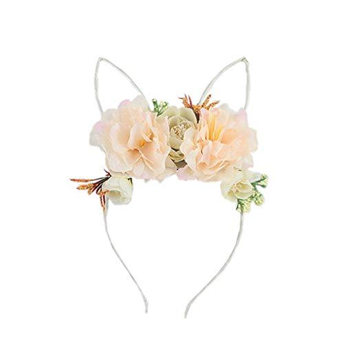 Dorical Kaninchen Haarband mit Peony Flower Beautiful Stirnband und Haarbänder für Mädchen Damen/Kostüm Parteien Deko, Halloween Weihnachten Festival Party Kopfband Kostüm Accessories(F)