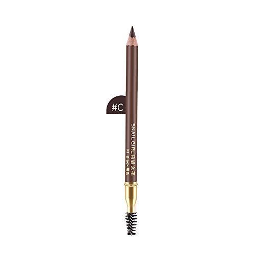 Cooljun 2 en 1 Precision longue duree imperméable à l'eau sourcil doublure double crayon avec brosses à sourcils outils (C)
