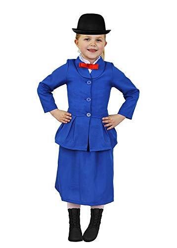 (ILOVEFANCYDRESS M.Poppins Kinder KOSTÜM VERKLEIDUNG 4 TEILIGE MAGISCHE Nanny/KINDERMÄDCHEN VERKLEIDUNG-MIT VERSCHIEDENEM ZUBEHÖR-KOSTÜM-Large+MELONEN Hut)
