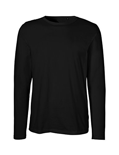 Green Cat- Herren Langarm T-Shirt, 100% Bio-Baumwolle. Fairtrade, Oeko-Tex und Ecolabel Zertifiziert, Textilfarbe: schwarz, Gr.: M (Schwarz Langarm-t-shirt)