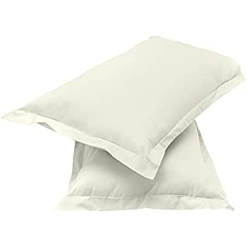 """Amazon Brand - Solimo Solid 144 TC 100% Cotton 2 Piece Pillow Covers(Not Pillow), 18""""x 27"""", Off-White"""