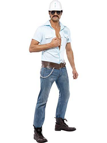 Luxuspiraten - Herren Männer Village People Bauarbeiter Kostüm mit Hemd, Hut, Gürtel und Sonnenbrille, perfekt für Karneval, Fasching und Fastnacht, M, - Mann Bauarbeiter Kostüm