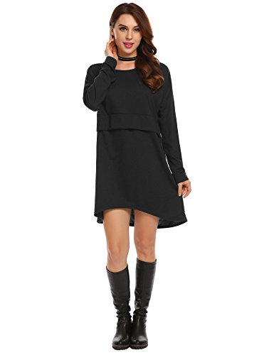 Keland Damen Casual Strickkleid O-Ausschnitt Dropped Schulter Langarm Loose Pullover Kleid Minikleid