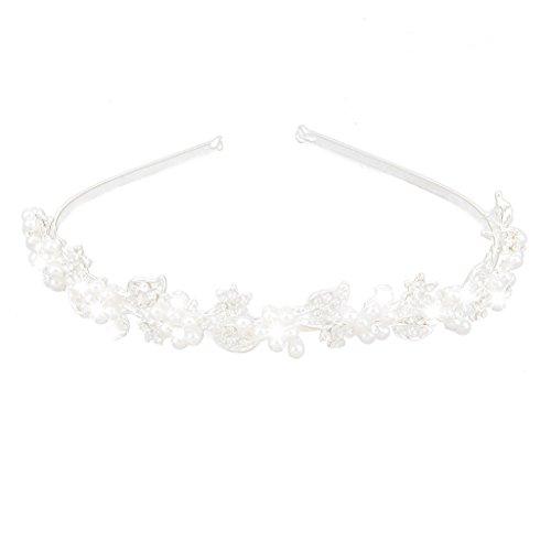 Serre-tête Diadème Fleurs en Perle Artificielle Accessoire de Coiffure pour Mariée