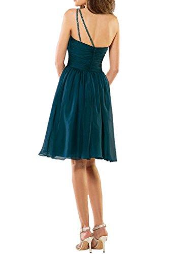 La_Marie Braut Dunkel Blau Attraktive Ein-schulter Cocktailkleider Brautjungfernkleider Kurz A-linie Rock Dunkel Blau