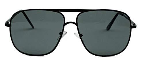 amashades Vintage Classics Old School Brille 80er Jahre Brillengestell Square Aviator Herren Sonnenbrille oder Nerdbrille mit Klarglas F20 (Schwarz/Smoke)