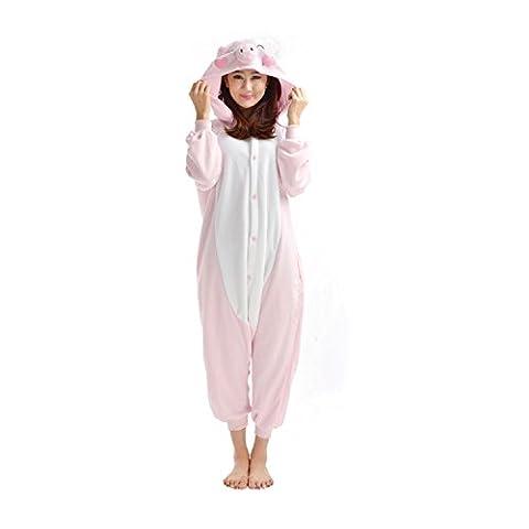 DarkCom Adulte Pyjama Déguisement Combinaison unisexe animal Onesies Grenouillère Le Cochon Rose