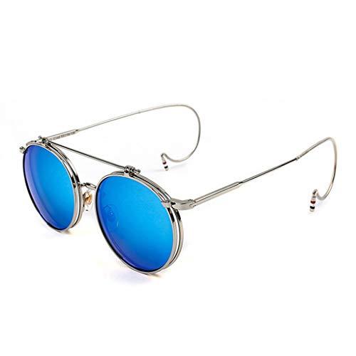 Vintage Sonnenbrille Unisex Polarisierte Schutzbrille Runde Metall Flip Up Frame Brille Hook Up Brillenbeine Steampunk Style Männer Frauen Reisen,SilverBlue,135MM