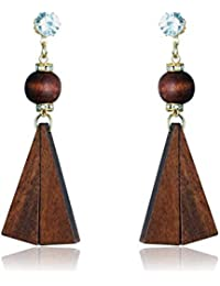 f79f63bba Waama Jewels Fashion Lady/Girl Wood Earrings Geometric Shape Gold Plated  Jewellery For Women And