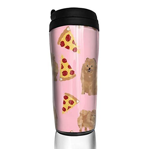 Pomeranian Dog 16802 Kaffeetasse mit süßem Hund, Pom Hund, Pizza Food_ 340 ml, auslaufsicher, Flip Deckel, Wasserflasche, umweltfreundliches Material ABS