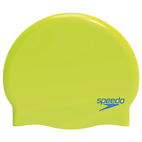 Speedo Plain Moulded Silicone Junior Mütze, Lime/Turquoise, One size