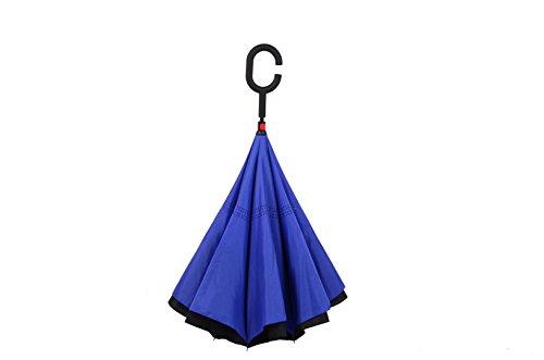 MYC Yi Lian inverso pieghevole doppio strato invertito Umbrella anti-UV e ombrelloni e la pioggia con le mani a forma di C-libera della maniglia, le migliori compatto da viaggio Ombrello per l'auto (blu marino)
