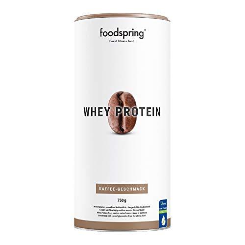 foodspring Whey Protein Pulver, 750g, Kaffee, Eiweißpulver zum Muskelaufbau, Hergestellt in Deutschland mit sorgfältig ausgewählten Rohstoffen