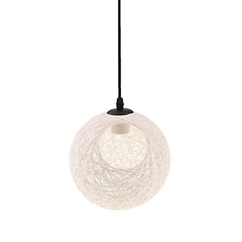 MagiDeal Lámpara de Techo Forma de Bola con Agujero Luz Colgante Interior 20CM Decoración de Cafetería de Restaurante de Hogar 12 Colores - blanco