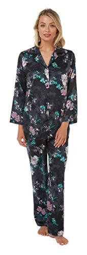 Indigo Sky Damen Schlafanzug, langärmelig, Blumenmuster, Satin Gr. 52-54, Schwarz Multi -
