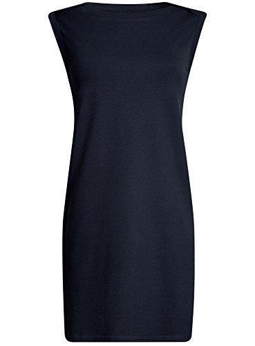 oodji Ultra Damen Pique-Kleid Blau (7900N)