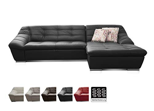 Cavadore Leder-Sofa Lucas / Echtledercouch mit Steppung und Schlaffunktion / Longchair rechts / Größe: 287 x 81 x 165 (BxHxT) / Leder schwarz