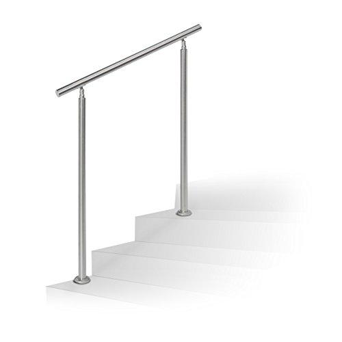 Escaleras barandilla Relaxdays, juego de acero inoxidable, para interior y exterior, pasamanos, 1m de largo, 2postes, sin travesaños, plata
