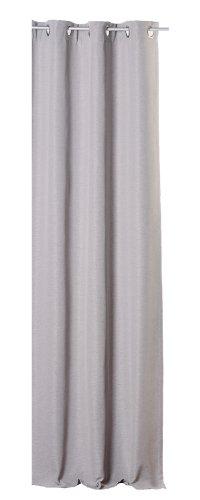Thermogardine elegant meliert Polar Fleece Übergardine Blickdicht Vorhang Ösen oder Kräuselband Gardine B/H ca. 140x245 cm #1117 (grau hell, Ösen)