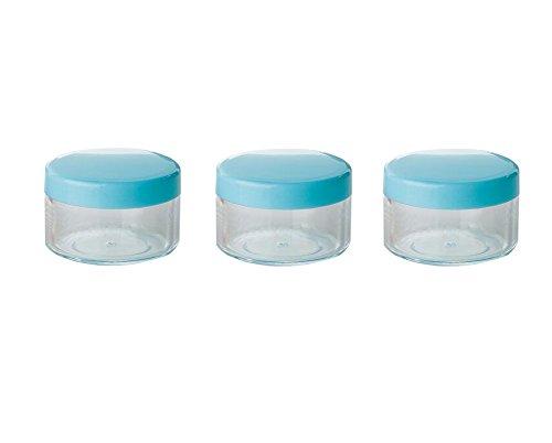 24 PCS 15G Rond En Plastique Transparent Voyage Rechargeable Cosmétique Bocaux Flacons Bouteilles Maquillage Cas Titulaire Conteneur De Stockage pour Crème Lotion Poudre Masque Facial (Bleu)