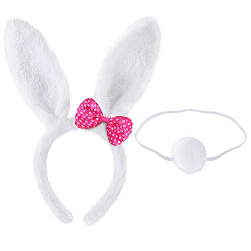 BESTOYARD Bunny Stirnband Schwanz Set Nette Bunny Rabbit Ear Stirnband Haarband für Ostern Kinder Erwachsene Cosplay Party Favors (Weiß)