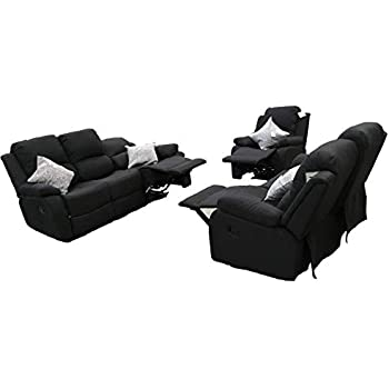 Fine Ukleisureworld Recliner Lazyboy Single Chair Black Sofa Suites Settee Charcoal Three Two One Grey Fabric 3 2 1 Seater Charcoal 3 2 1 Machost Co Dining Chair Design Ideas Machostcouk