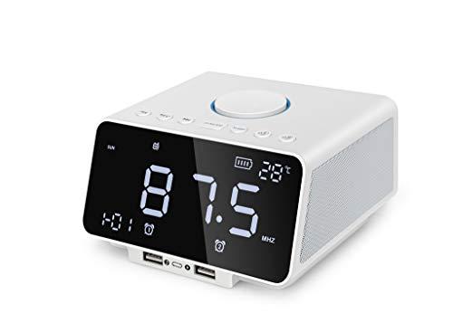 SKays Bluetooth Wireless Lautsprecher Stereo Subwoofer für iPhone PC Unterstützung AUX TF FM Freisprechtemperatur Wecker mit 5,5
