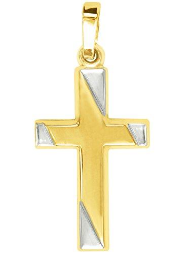 MyGold Kreuz-Anhänger (ohne Kette) Gelbgold Weißgold Weissgold 750 Gold (18 Karat) bicolor 28mm x 13mm Taufe Taufgeschenk Kommunion Kreuzkette Jenna V0011255